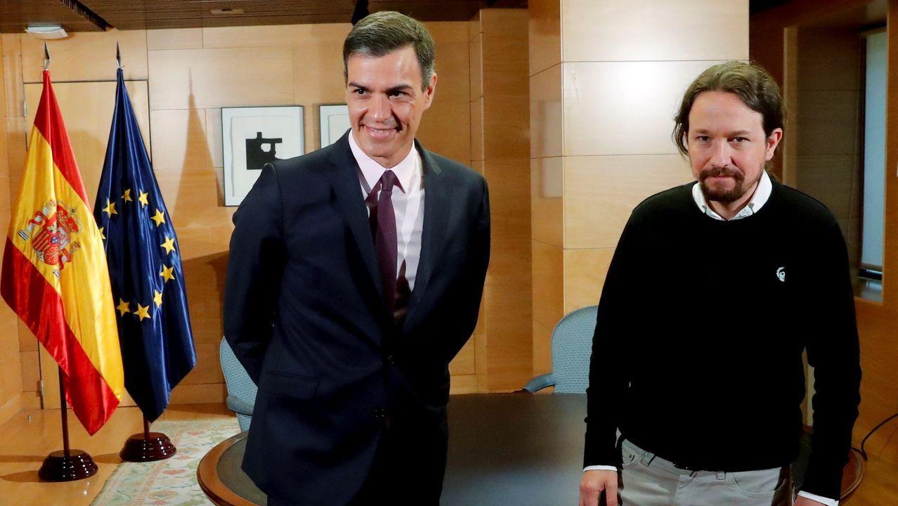 Imagen de archivo de la reunión mantenida el pasado día 11 entre Sánchez e Iglesias en el Congreso