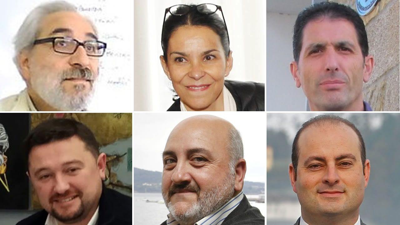 De izquierda a derecha, de arriba abajo, Lois Fermín R. Vázquez, Mercedes Rosón, Javier G. Trillo, Alonso Pumar, Julio Iglesias y Diego Taibo