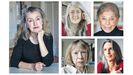 Rebecca Solnit (izquierda), y en la fila de arriba y por este orden, Vivian Gornick y Mary Beard, y en la de abajo, Joan Didion y Mona Chollet son algunas de las últimas ensayistas traducidas al gallego (Chollet) y al castellano