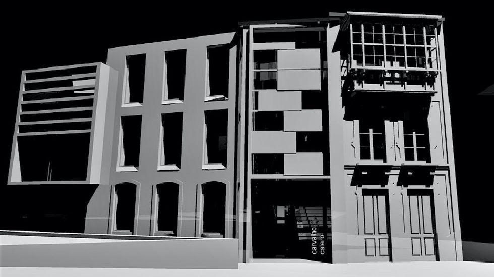 Resultado de la rehabilitación según la recreación incluida en el anteproyecto de la intervención en la casa de Carvalho Calero (a la derecha) y los edificios adyacentes
