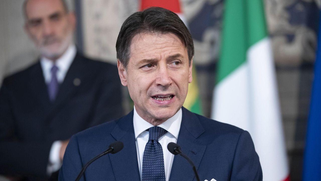 El primer ministro italiano Guiseppe Conte, durante su comparecencia para anunciar el nuevo Ejecutivo