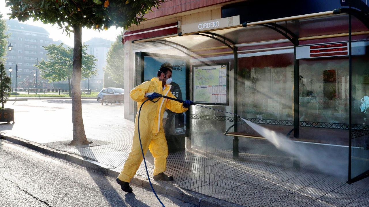 Un trabajador del servicio de limpieza del Ayuntamiento de Oviedo desinfecta una parada de autobús en el barrio de la Tenderina de Oviedo