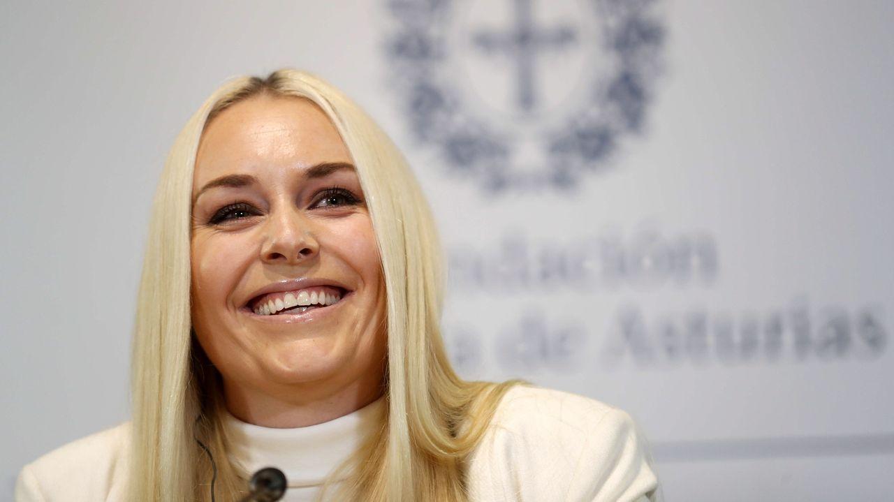 La esquiadora estadounidense Lindsey Vonn, campeona olímpica y doble oro mundial, durante la rueda de prensa en Oviedo en la víspera de recoger el Premio Princesa de Asturias de los Deportes 2019