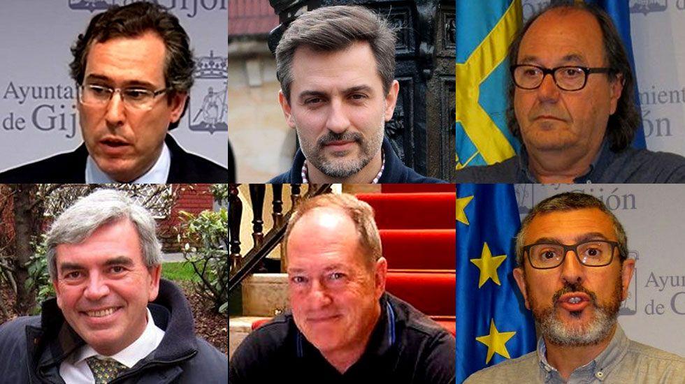Obras en la variante de Pajares.Fernando Couto, José María Pérez, Mario Suárez, Mariano Marín, Aurelio Martín y José Carlos Fernández Sarasola