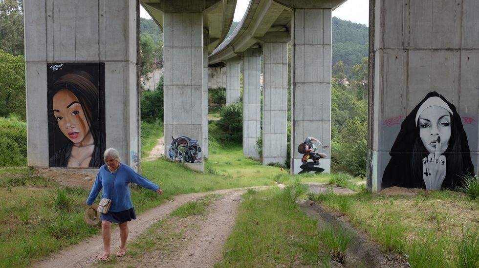 Columnas que también son lienzos de arte en O Val Miñor