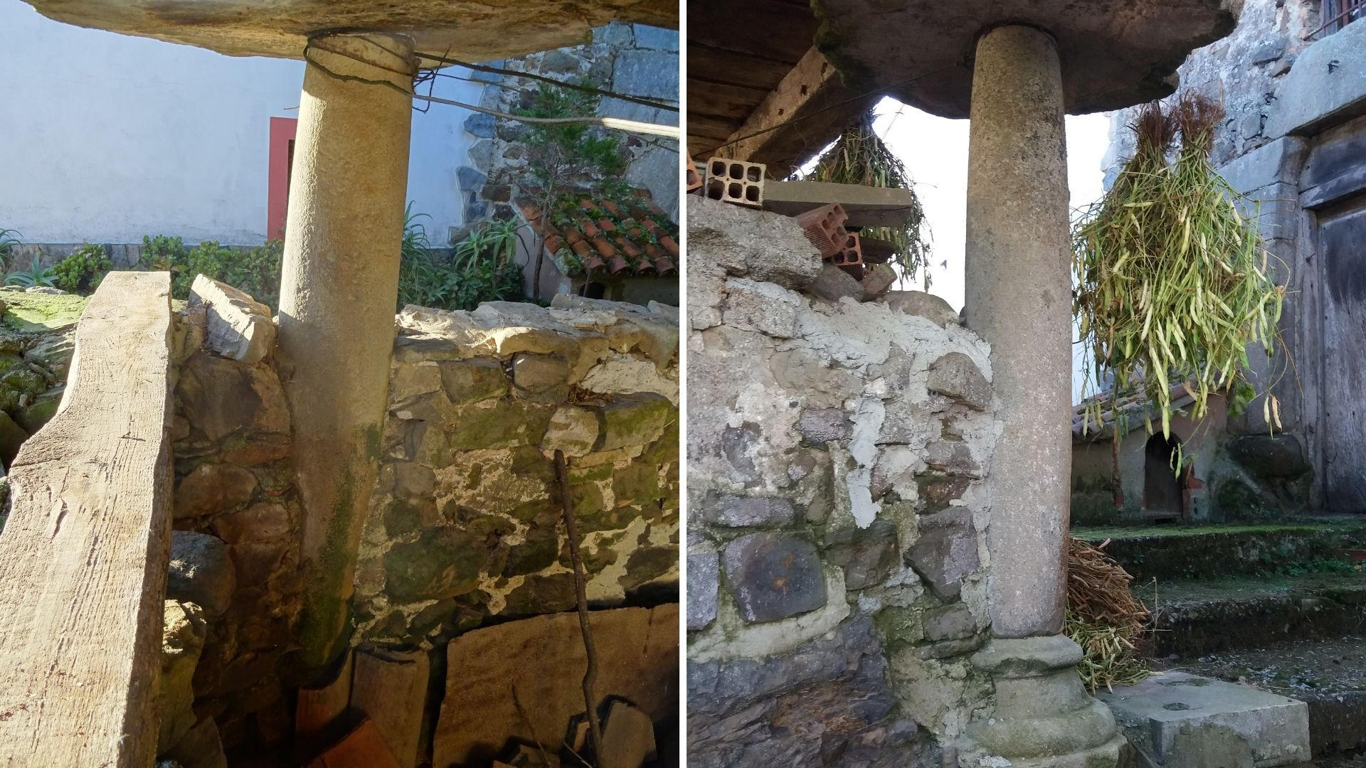 Detalle de sus dos columnas toscanas, reutilizadas como pegoyos