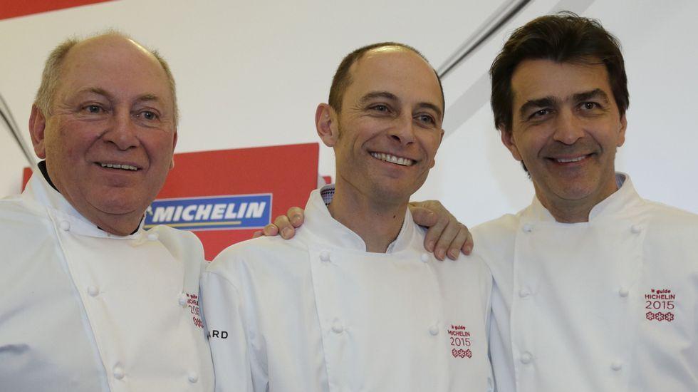 Los reyes de las tres estrellas Michelín.Rene Meilleu y su hijo Maxime Meilleur con Yannick Alleno