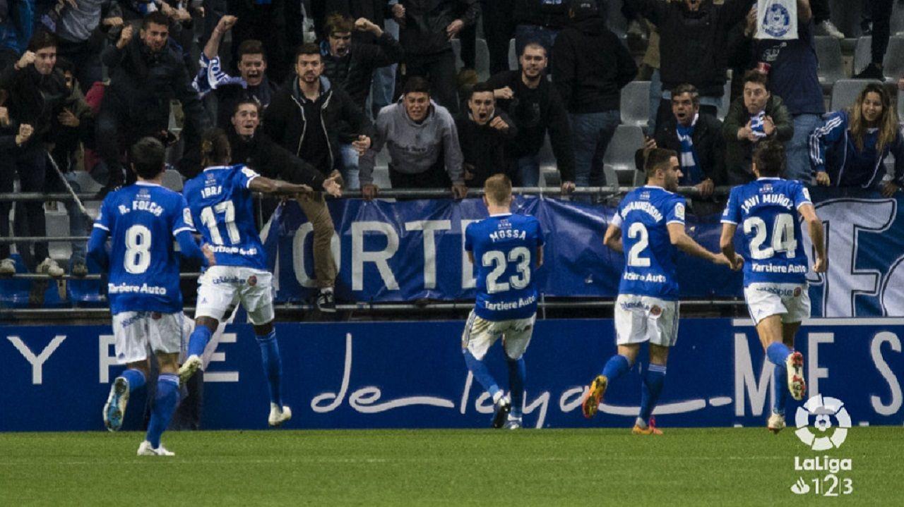 Gol Mossa Real Oviedo Reus Carlos Tartiere.Mossa celebra el 1-0 ante el Reus