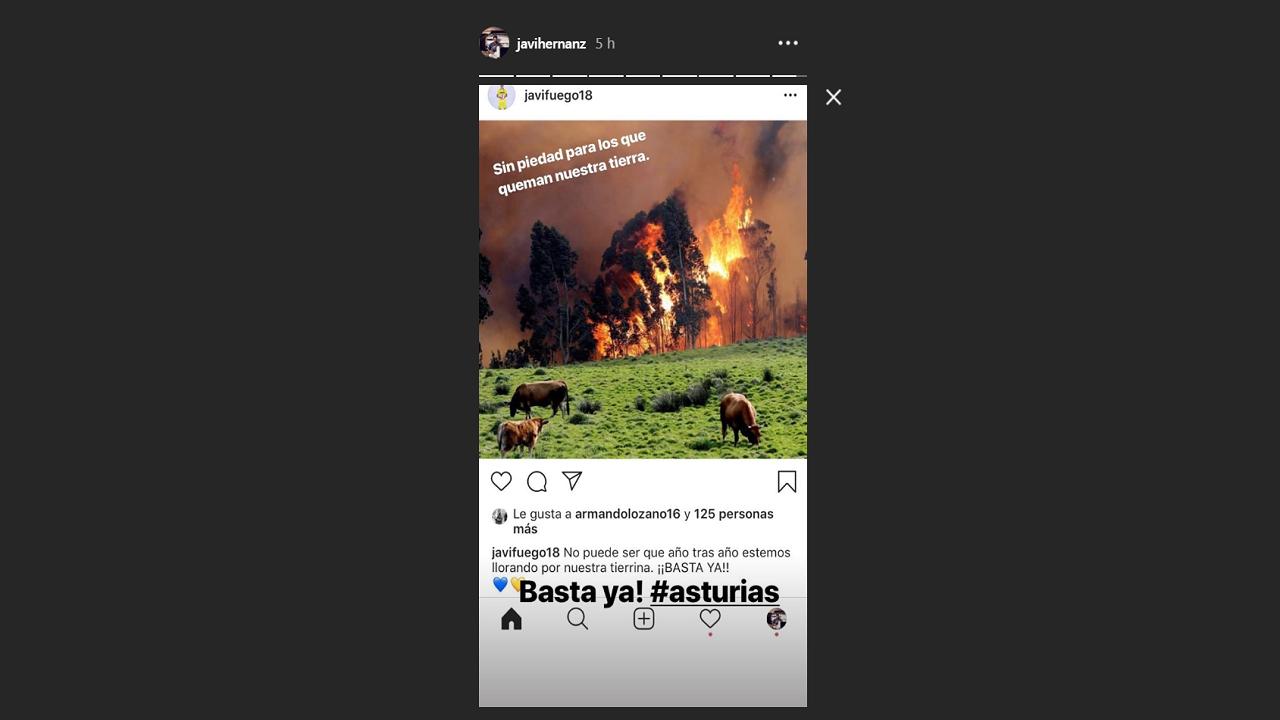 Javier Hernanz comparte una publicación de Javi Fuego sobre los incendios en Asturias