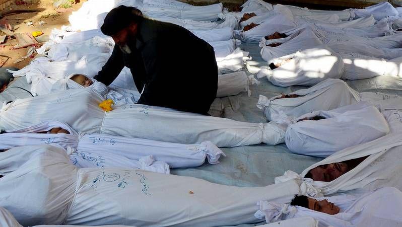El vídeo con el que Estados Unidos quiere convencer a los legisladores.Víctimas del supuesto ataque con armas químicas en Ghouta