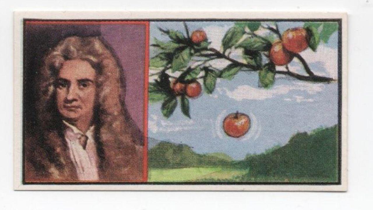 jóvenes investigadores científicos asturianos.Viñeta de Isaac Newton y la conocida manzana