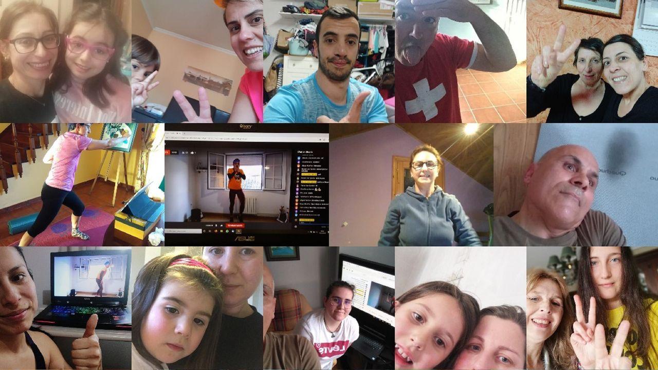 Basilio Seijas (con camiseta naranja) mantiene los circuitos de tábata, ahora a través de YouTube, con los participantes (algunos aparecen en el fotomontaje) ejercitándose desde sus casas