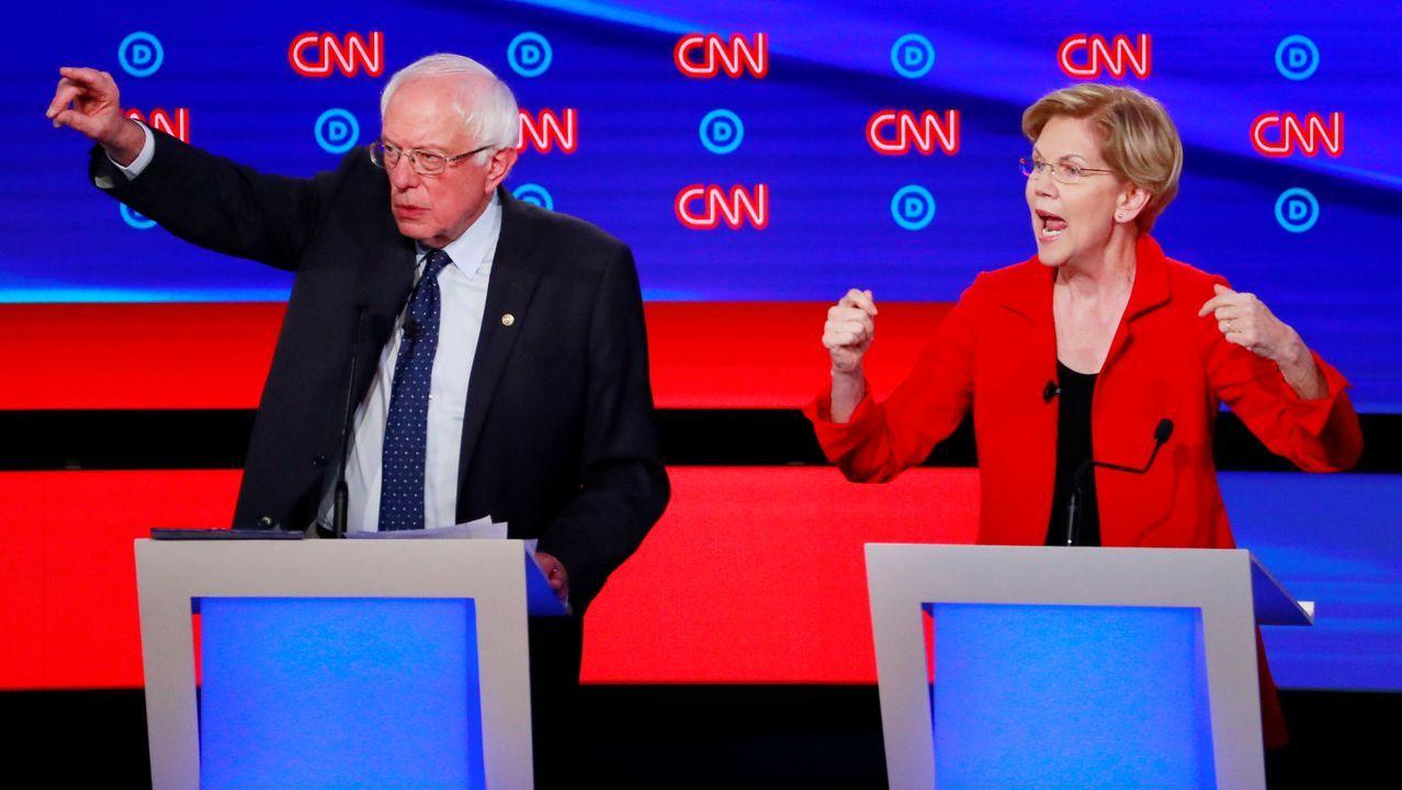 Samders y Warren, durante un momento del debate
