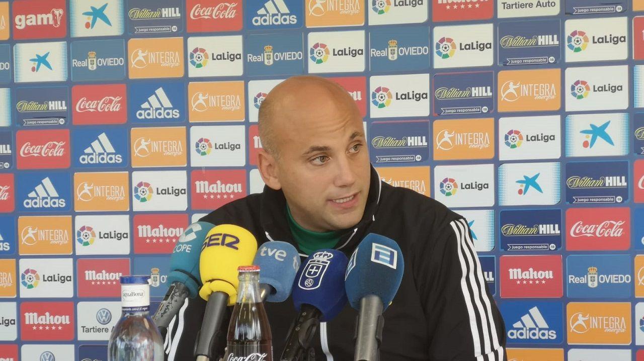 Tejera Real Oviedo Numancia Carlos Tartiere.Javi Rozada en la sala de prensa de El Requexón
