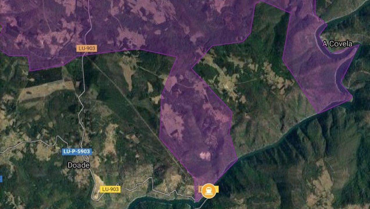 Un mapa de la web de turismo de la Diputación muestra la situación del embarcadero del cañón del Sil (punto amarillo en la parte inferior de la imagen). Las zonas en morado son parte del territorio de Monforte, que rodea un exclave perteneciente a la parroquia soberina de Doade