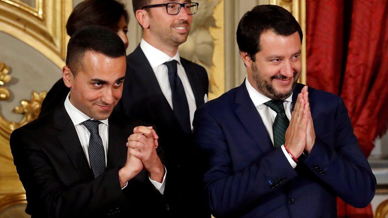 Di Maio y Salvini, durante su jura como ministros en junio del 2018 en el Quirinal
