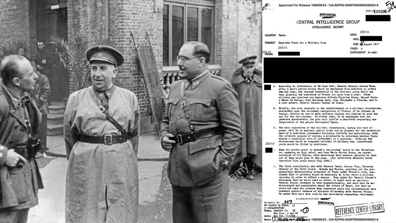 De izquierda a derecha: El coronel Martín Alonso, el general Orgaz y el coronel Aranda, en Oviedo al finalizar el cerco en 1937. A la derecha, uno de los documentos desclasificados de la CIA