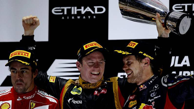 El último podio del Mundial de fórmula 1, en Abu Dabi