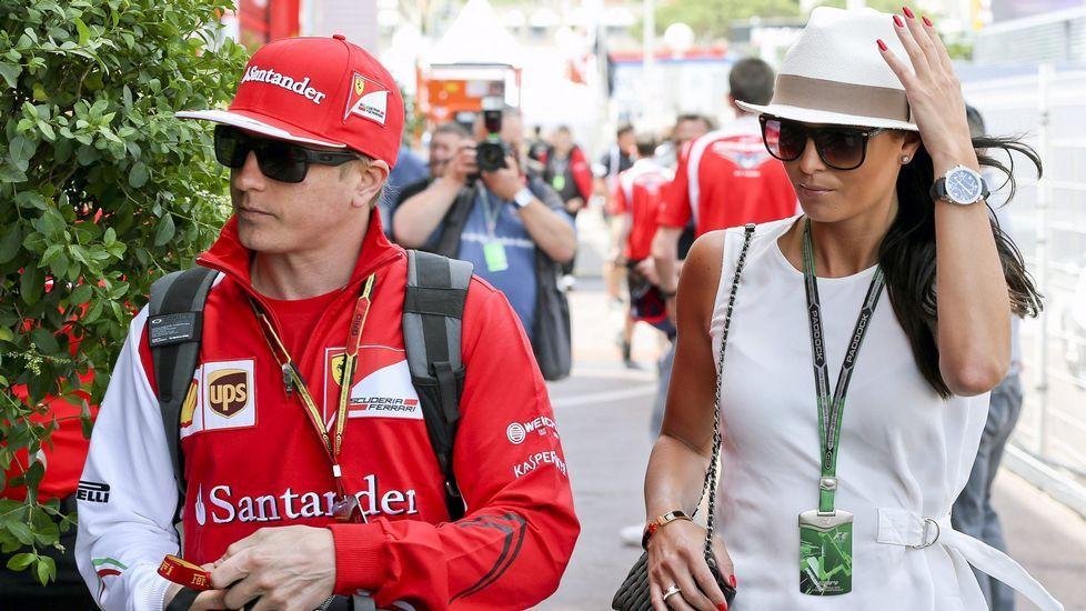 Mercedes marca el ritmo en una nueva jornada en Montmeló.Kimi Raikkonen y su pareja Minttu Virtanen