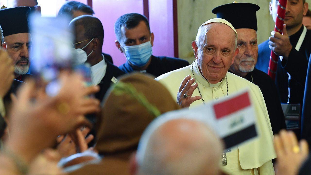 El papa Francisco, durante su visita a la ciudad iraquí de Qaraqosh