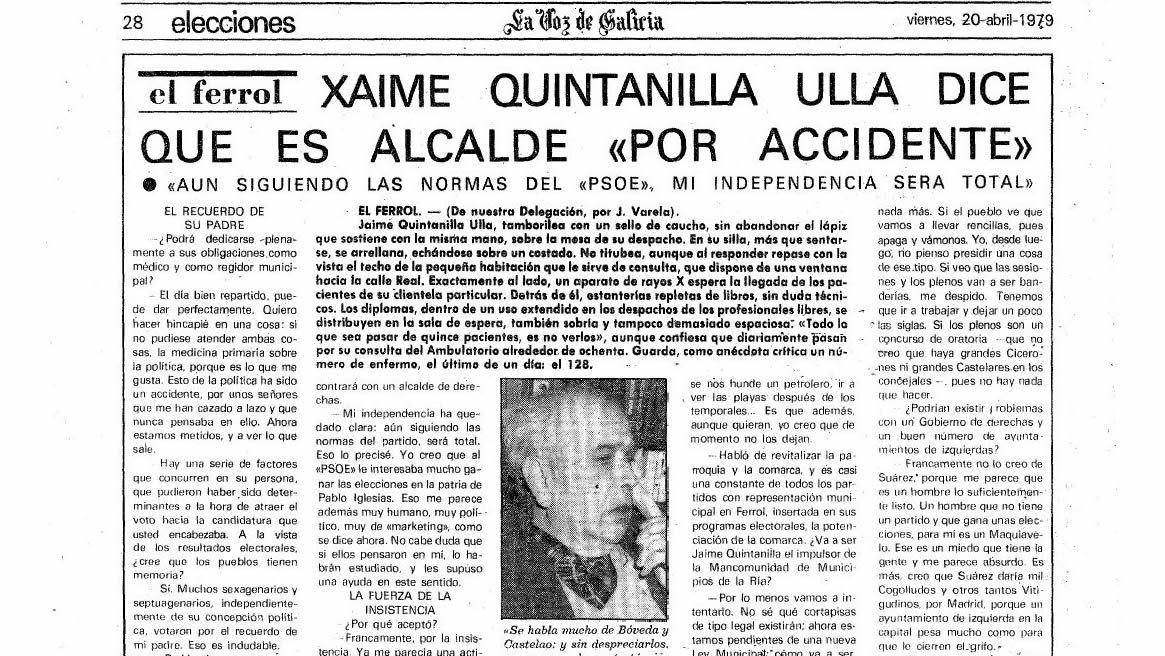 Detalle de una entrevista con el veteranísimo alcalde de Beade, Senén Pousa, confeso admirador de Franco