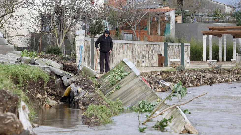 Daños en la escollera del paseo fluvial de Monforte, por las inundaciones de enero del 2011