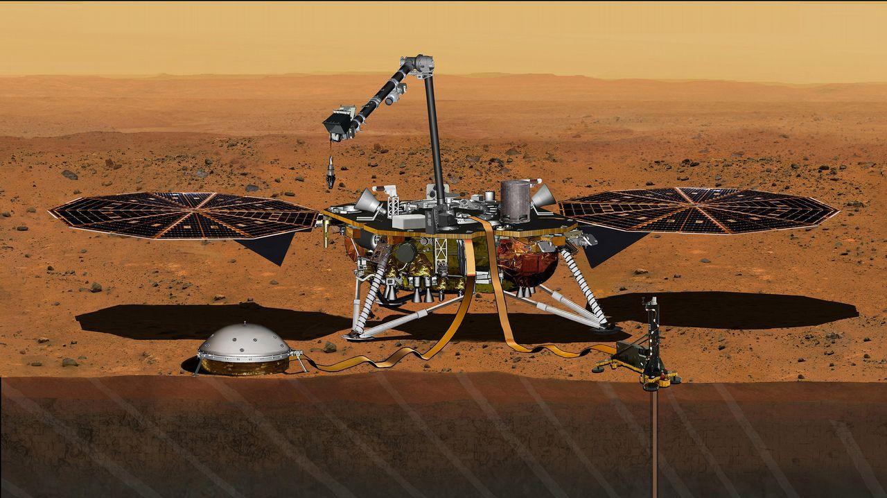 InSight, el envíado de la NASA a Marte.La nave Osiris-Rex orbitará este lunes en el cuerpo celeste más pequeño para coger muestras de polvo