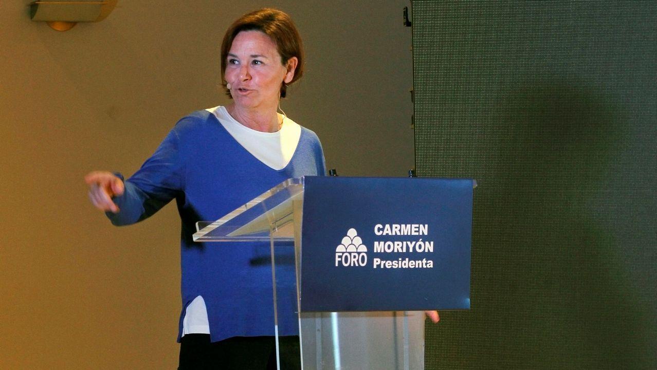La candidata de Foro a la Presidencia del Principado, Carmen Moriyón, interviene en el acto de arranque de la campaña electoral