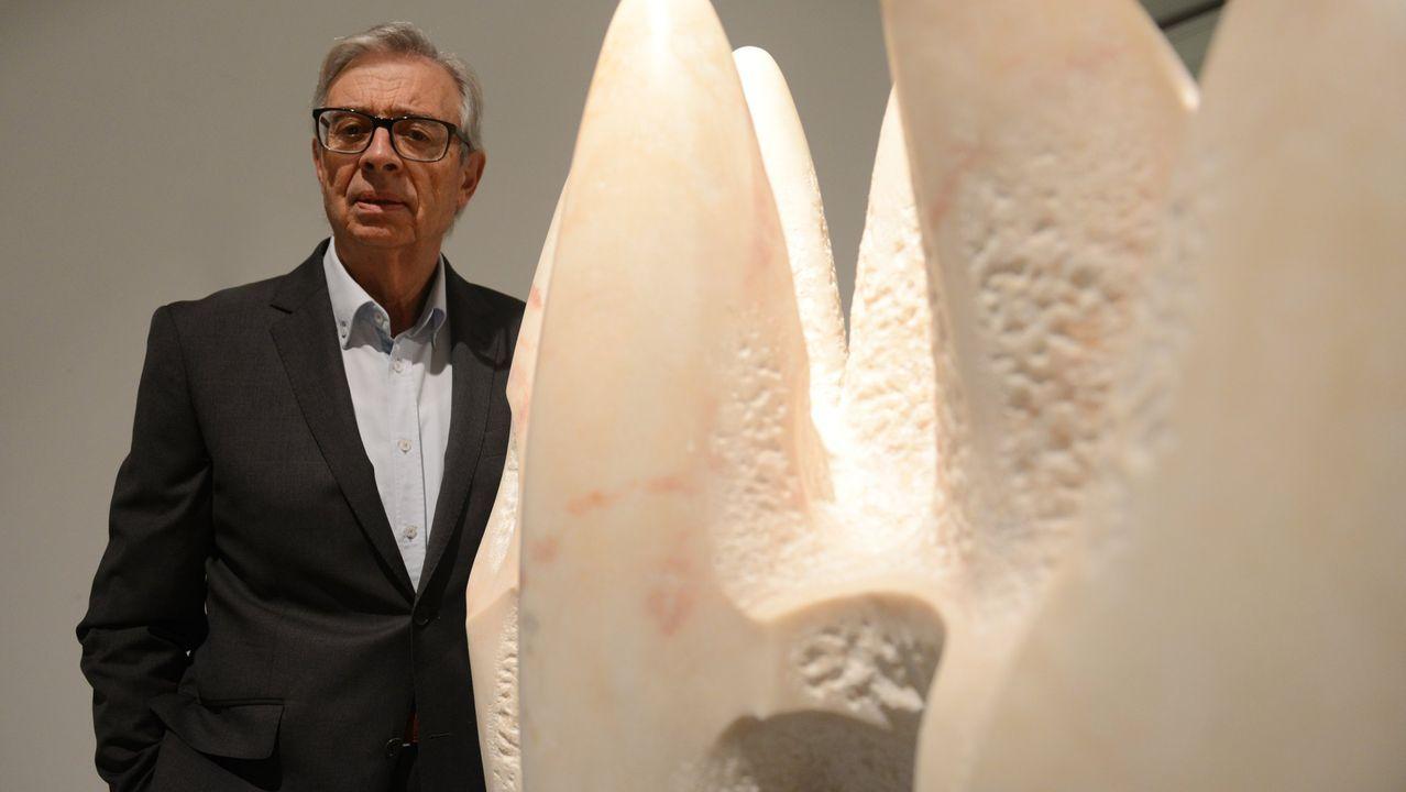 Xosé Cid, durante la inauguración de su muestra «Materia infinita»
