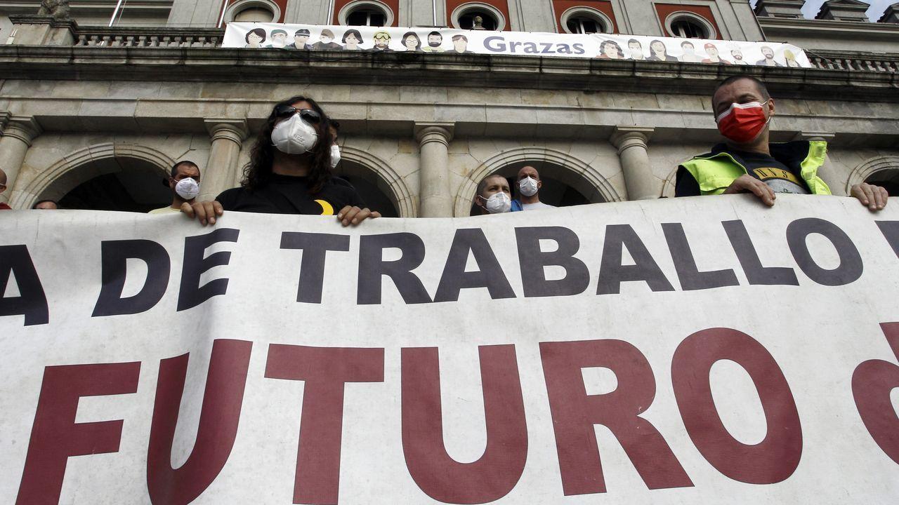 Concentración de los trabajadores de Navantia -en septiembre- ante el Concello de Ferrol
