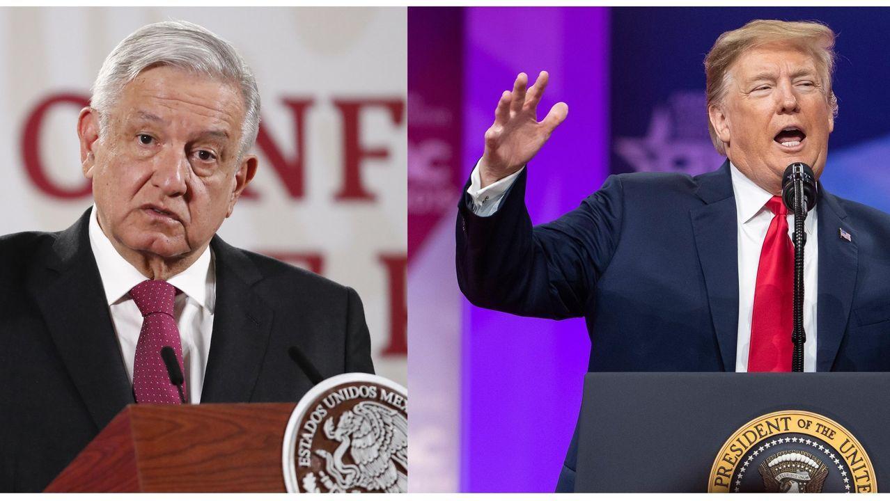 Aterriza en México el avión presidencial para su venta tras 19 meses en EE.UU..Los presidentes Andrés Manuel López Obrador (izquierda), de México, y Donald Trump (derecha), de EE.UU.