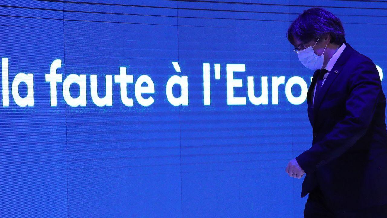 El expresidente catalán huido de la Justicia, Carles Puigdemont, ayer en el Parlamento Europeo
