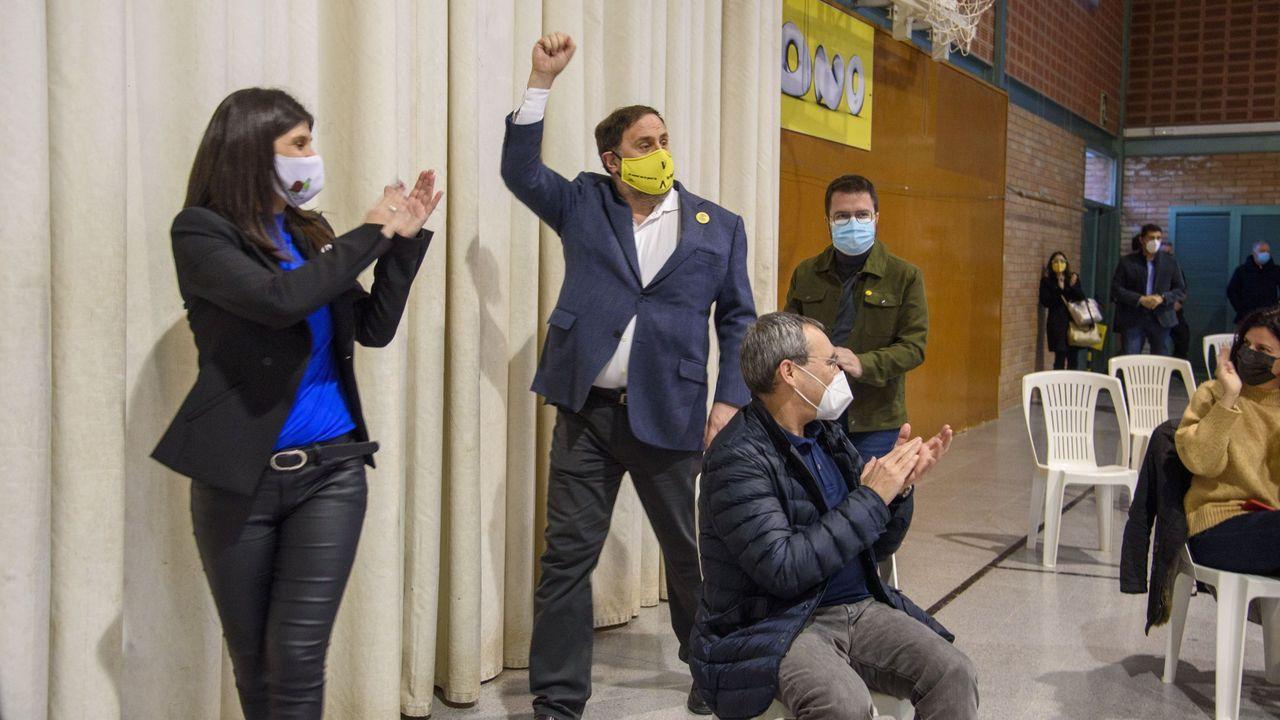 Vilalta, Junqueras y Aragonés en un mitin en Lérida