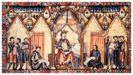 Afonso X o Sabio ditando o «Libro de los Juegos», cuxo único orixinal coñecido se conserva na biblioteca do mosteiro de El Escorial