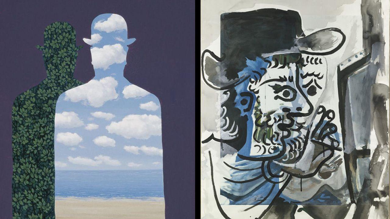 A la izquierda, la obra de Magritte «La Belle Société» y, a la derecha, la obra «Le peintre au travail» de Picasso, que llegan en una muestra itinerante al Museo de Bellas Artes de Asturias