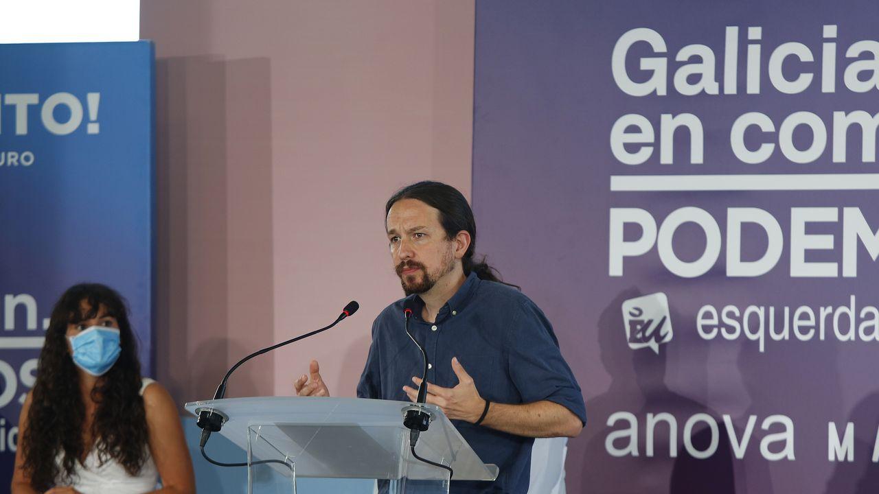 Pablo Iglesias en un mitin en A Coruña durante la campaña del 12J
