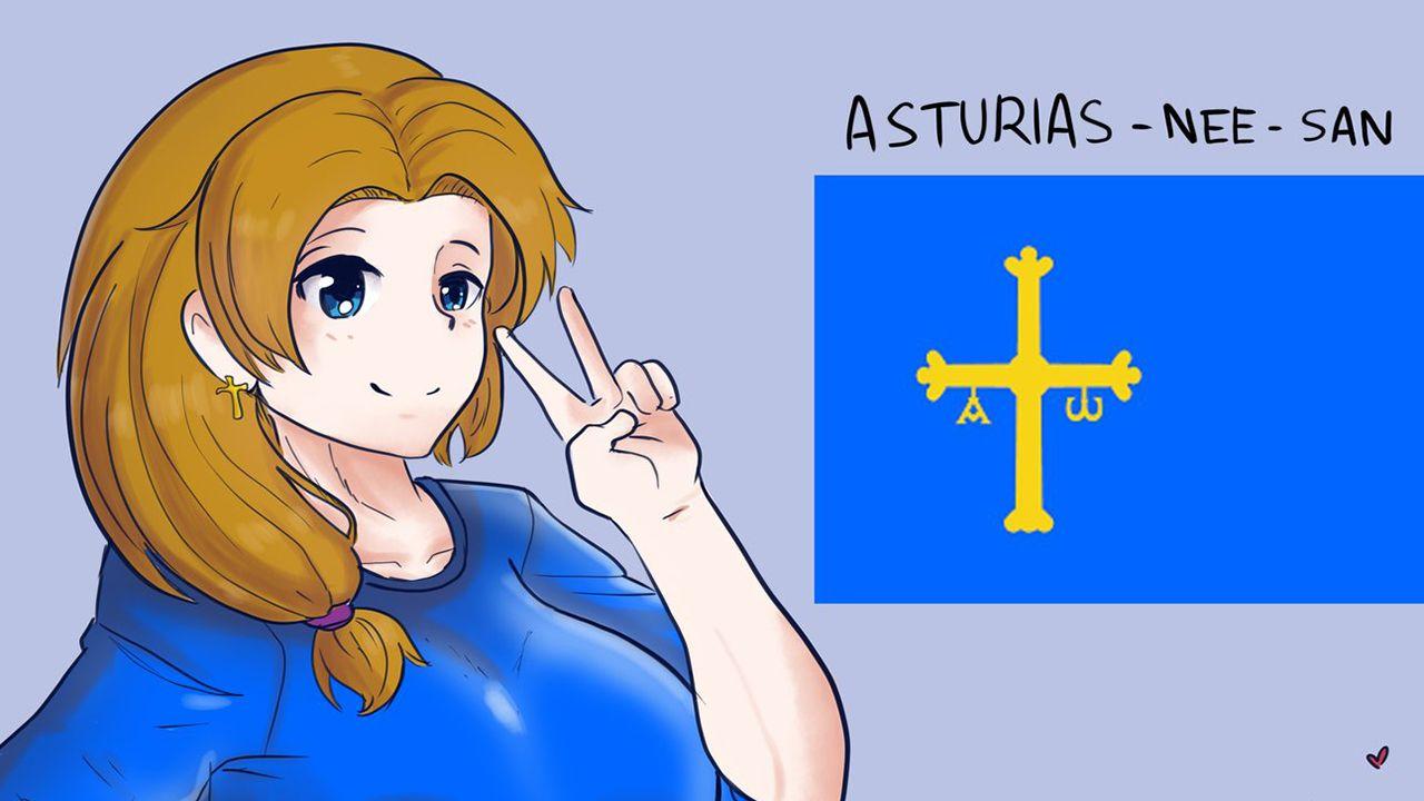 Asturias-nee-san, el personaje que la cuenta de twitter @EspanaManga ha creado para conmemorar el Día de Asturias