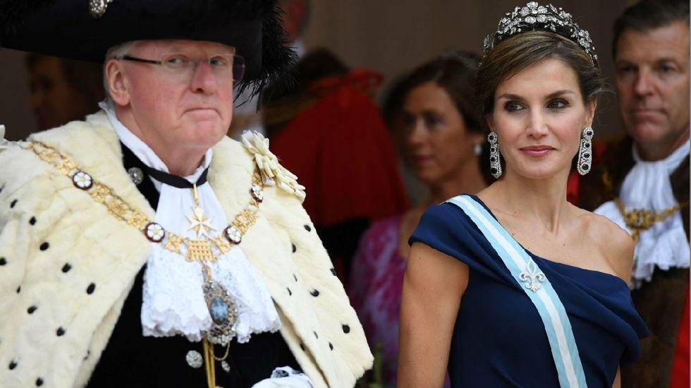 La reina Letizia en la sesión conjunta extraordinaria de las dos Cámaras del Parlamento británico celebrada en la Royal Gallery del Palacio de Westminster