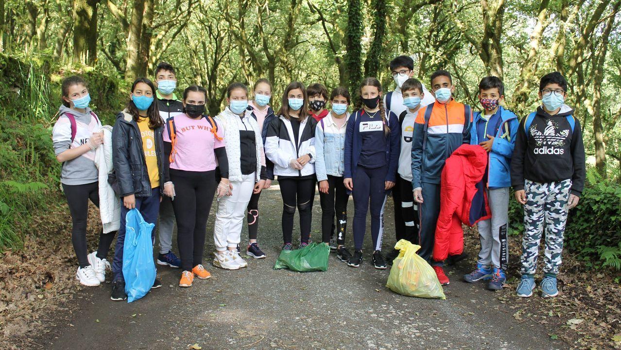 Niños del CEIP Ramón de Valenzuela, limpiando un tramo del Camino de Santiago.