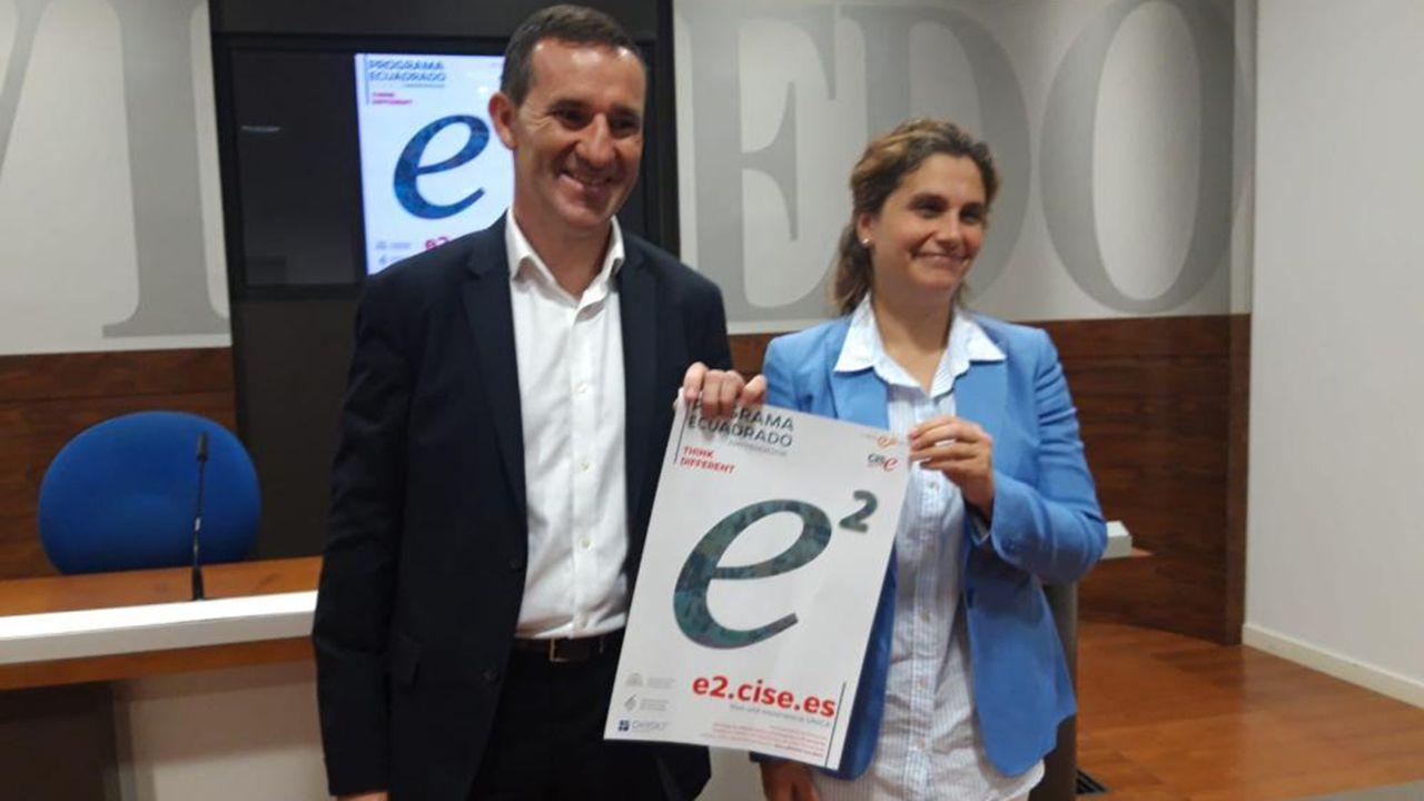 Cerco científico a la leucemia linfática crónica.Javier Cuesta y Cecilia Bethencourt en la presentación del programa «e2 estudiante x emprendedor»