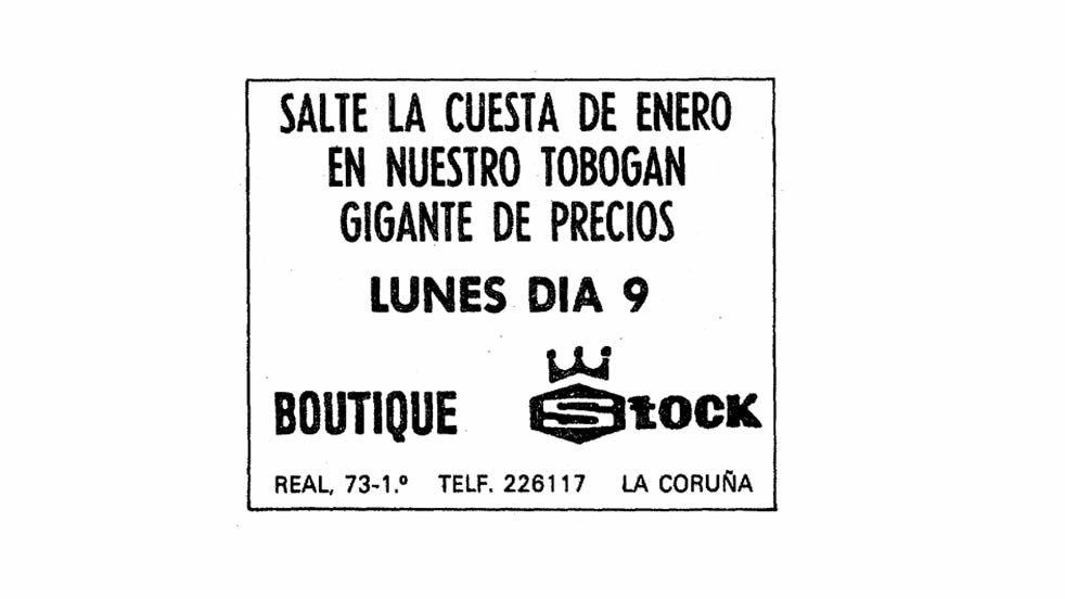 Anuncio publicado en La Voz de Galicia el 8 de enero de 1978