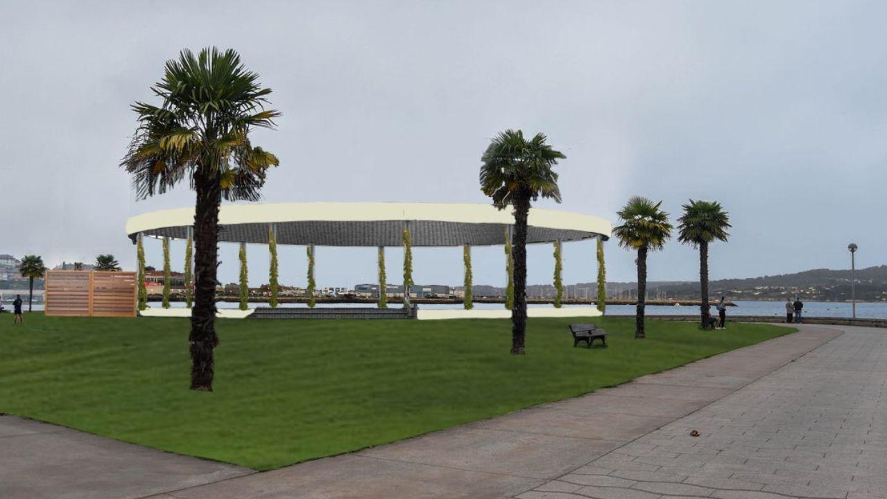 El BNG toma simbólicamente Meirás.Obras en el parque del puerto de Sada.