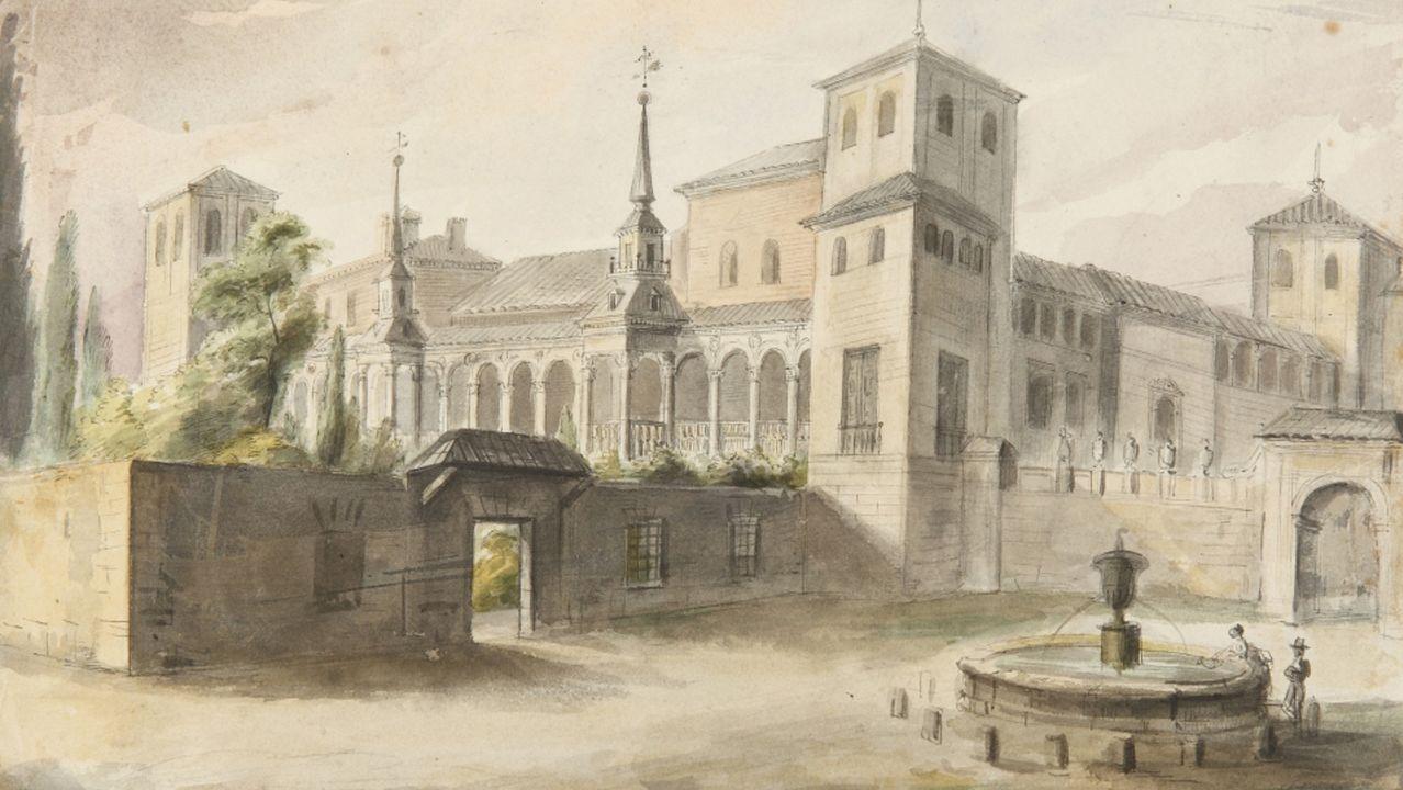Detalle de «Palacio arzobispal de Alcalá de Henares», un dibujo de Valentín Carderera