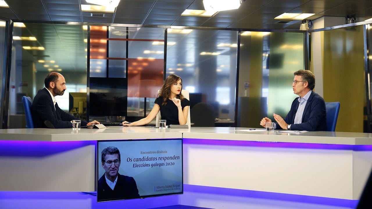 Encontro dixital con Alberto Núñez Feijoo.Simulacro de una votación en Boqueixón