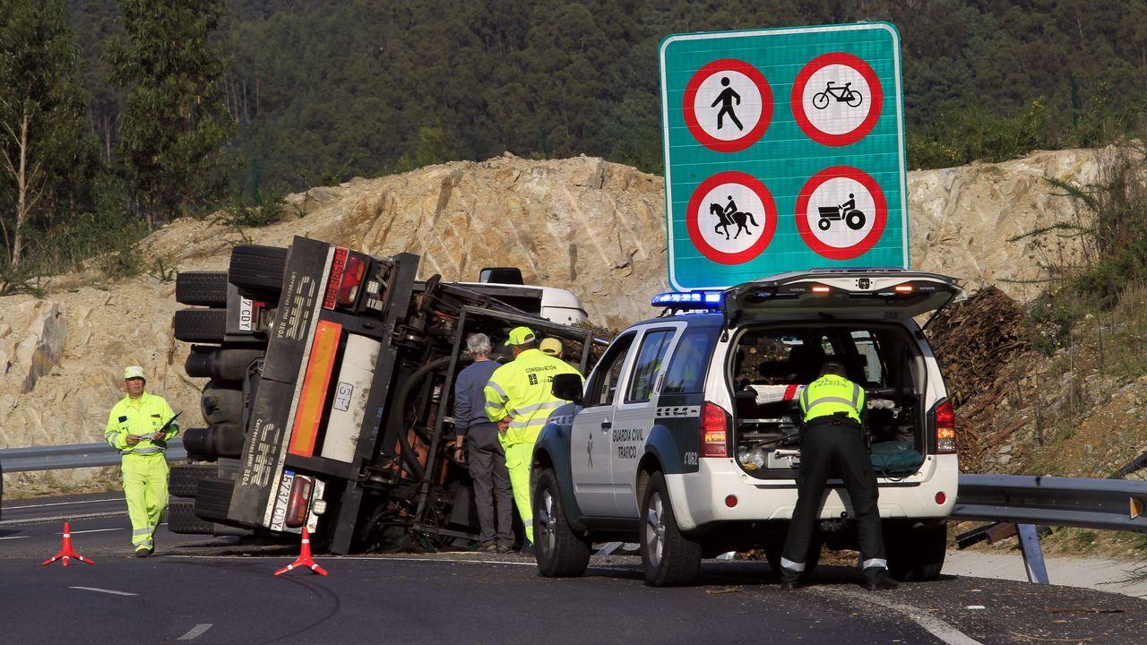 Un camión cargado de biomasa vuelca en la rotonda de Area