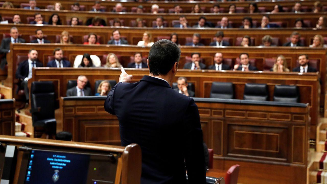 Irene Montero anuncia la derogación de la ley del aborto del 2015.Pedro Sánchez, el sábado, durante la primera sesión del debate de investidura