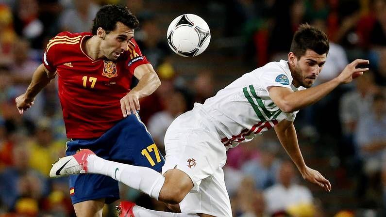 Nelson Oliveira, contra España en la pasada Eurocopa