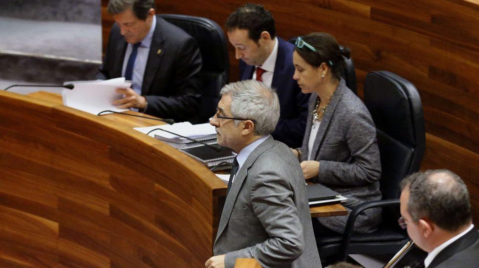 Ramón Argüelles.El portavoz de IU en la Junta General, Gaspar Llamazares (c), al inicio de su intervención en el debate de orientación política general en la Junta General