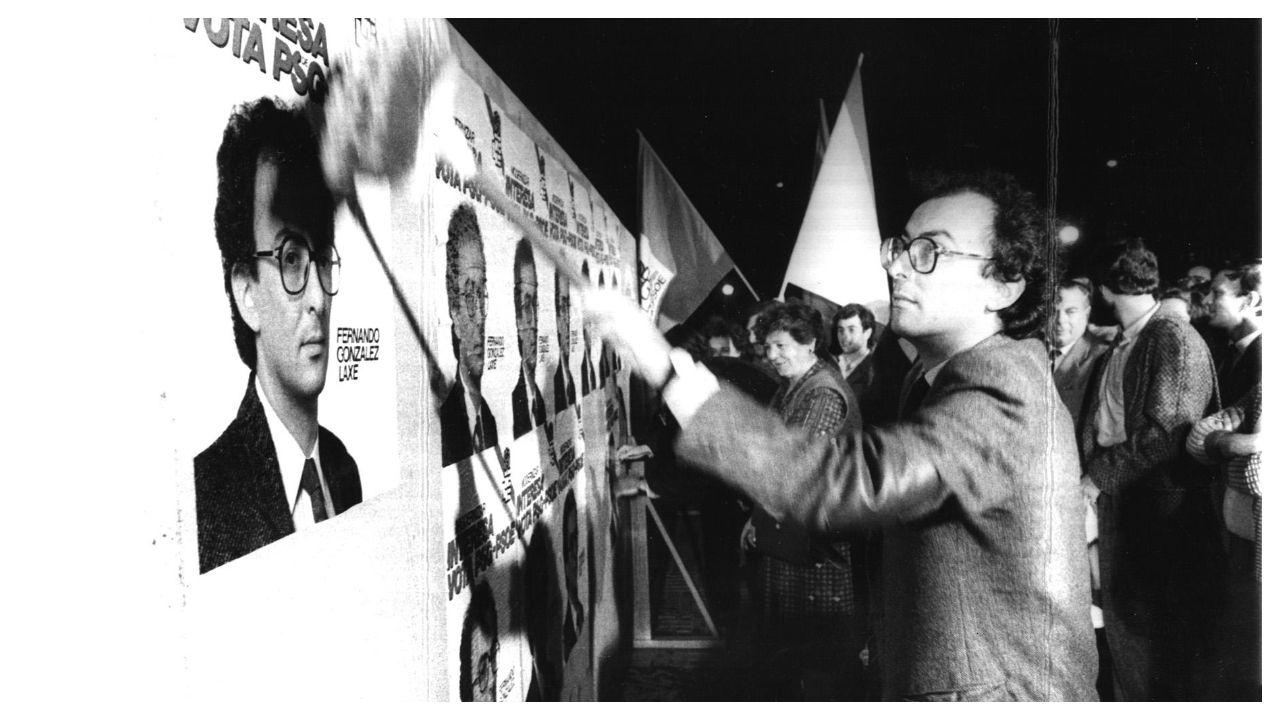 González Laxe, na campaña electoral de 1985