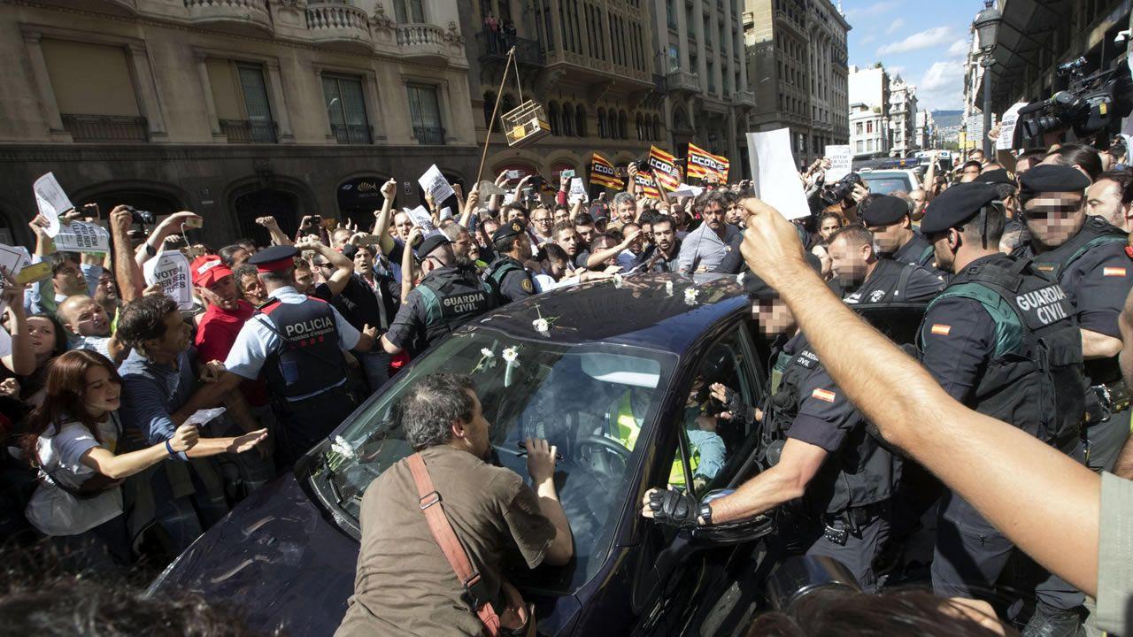 Altercados que se produjeron el 20 de septiembre del 2017 en Via Laietana cuando agentes de la Guardia Civil trataban de sacar cajas de de la conselleria de Exteriores.